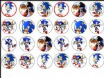 24 x Sonic Hedgehog Edible Wafer Rice Paper Cup Cake Top Toppers